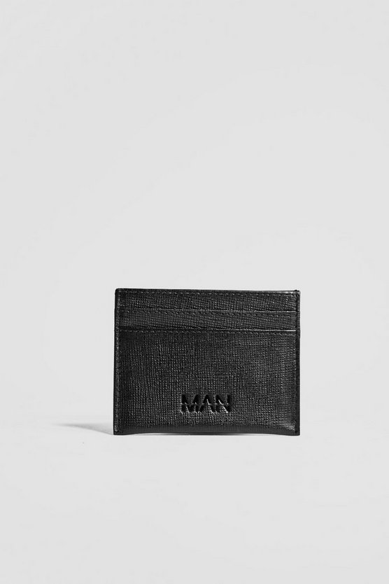 Black Real Leather Saffiano Emboss Card Holder