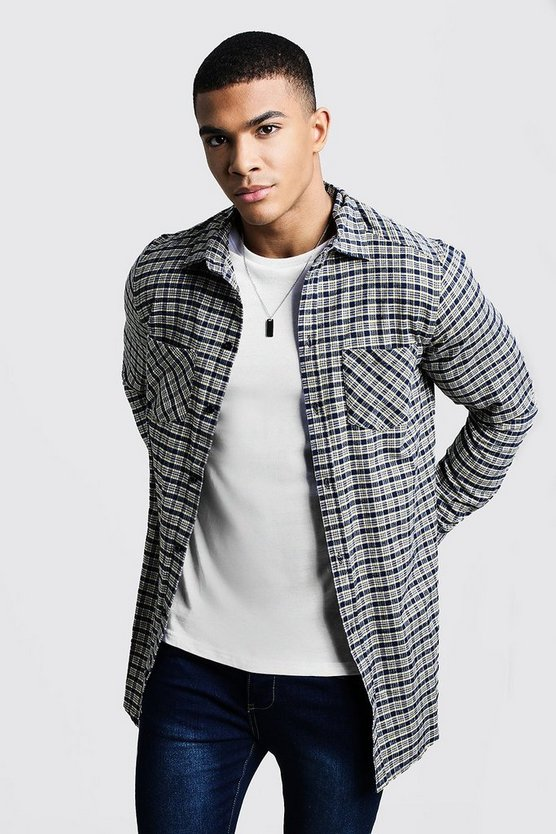 Navy Contrast Check Longline Long Sleeve Shirt