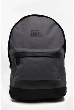 Mens Grey Basic Nylon Man Patch Rucksack