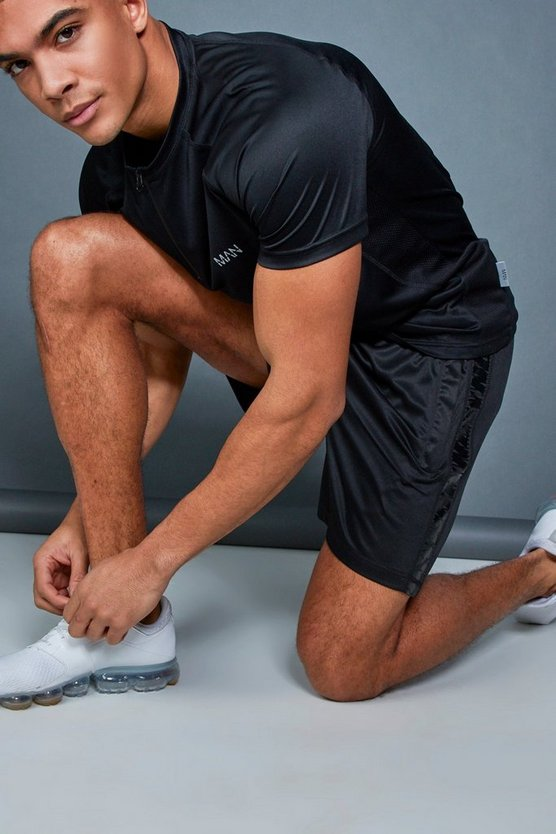 Black Active Gym Runner Short With Side Panel