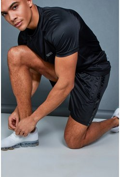 Mens Black Active Gym Runner Short With Side Panel