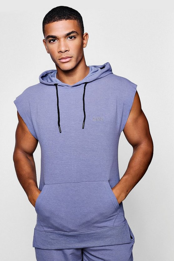 Blue Active Sleeveless Gym Hoodie