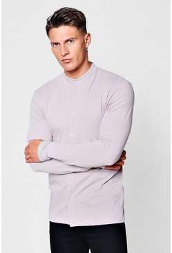 Bark Muscle Fit Long Sleeve Grandad Jersey Shirt