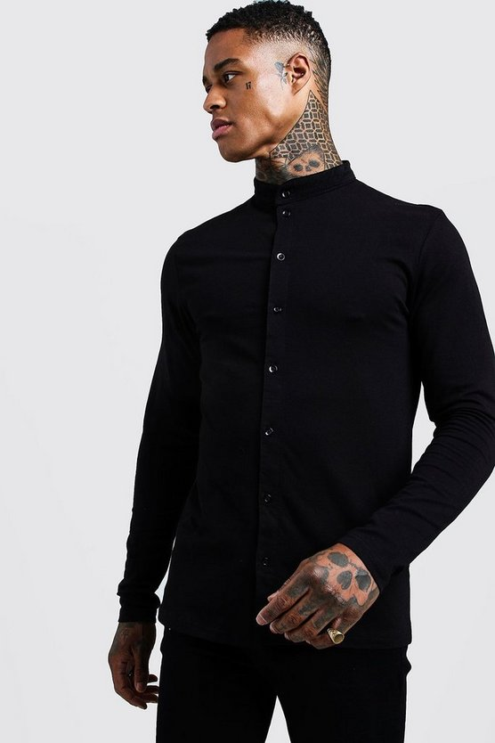 Mens Black Muscle Fit Long Sleeve Grandad Jersey Shirt