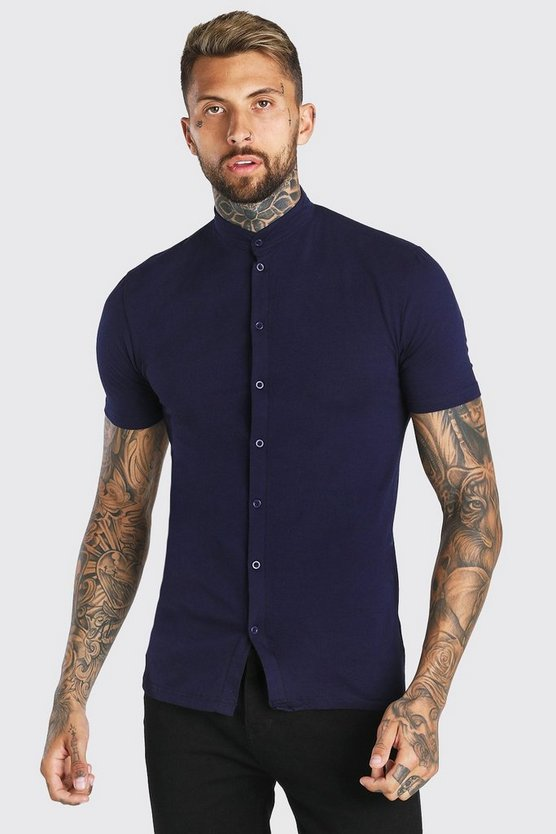 Mens Navy Muscle Fit Short Sleeve Grandad Jersey Shirt