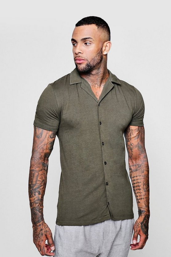 Mens Khaki Muscle Fit Short Sleeve Revere Jersey Shirt