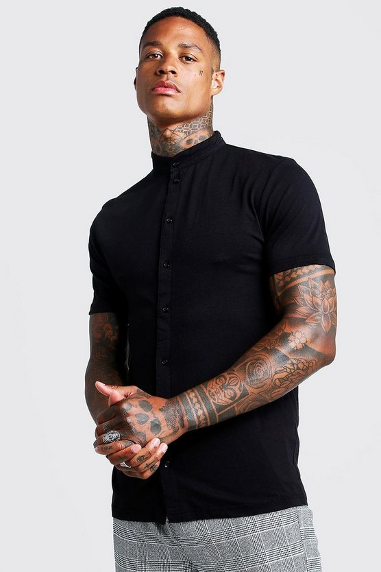 Mens Black Muscle Fit Short Sleeve Grandad Jersey Shirt
