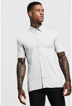 Mens Grey Muscle Fit Short Sleeve Jersey Shirt