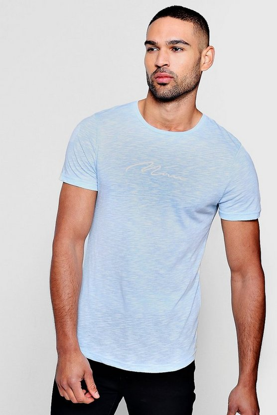 Mens Blue Muscle Fit Curved Hem MAN Signature T-Shirt