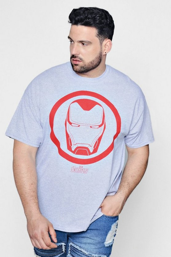 Grey Big And Tall Marvel Ironman T-Shirt