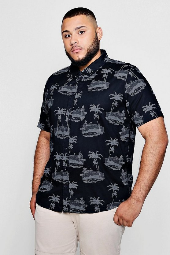 Mens Navy Big And Tall Island Print Shirt