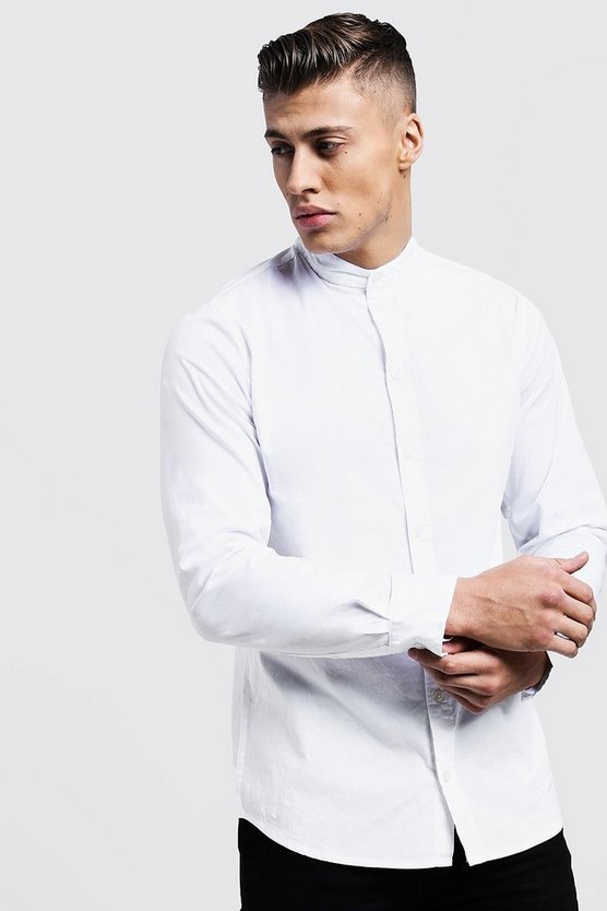 Mens White Muscle Fit Grandad Collar Long Sleeve Shirt
