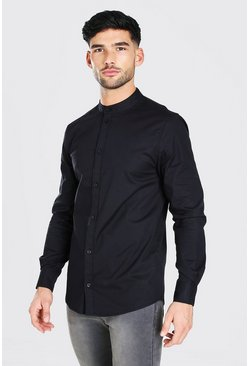 Black Muscle Fit Grandad Collar Long Sleeve Shirt