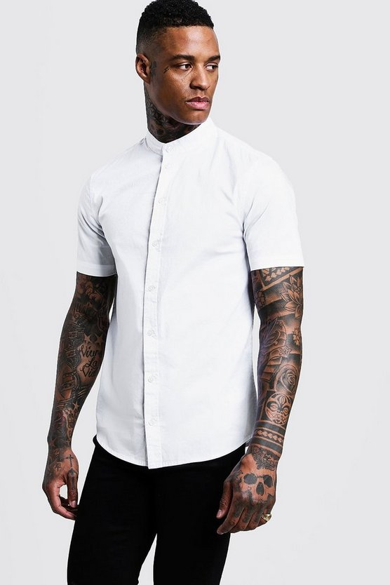 Mens White Muscle Fit Grandad Collar Short Sleeve Shirt