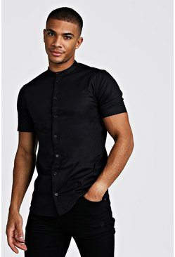 Black Muscle Fit Grandad Collar Short Sleeve Shirt