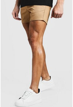 Mens Short Length Slim Fit Chino Short In Stone
