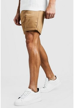 Mittellange Chino Shorts in steingrau, Herren