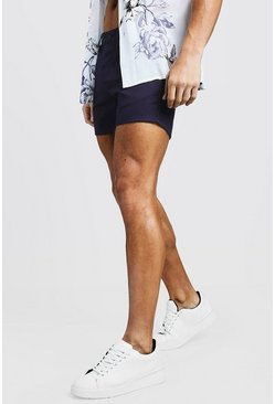 Mens Short Length Slim Fit Chino Short In Navy