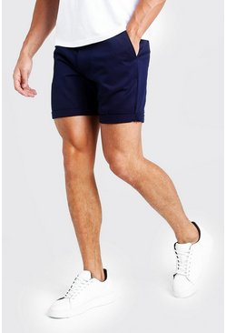 Mens Mid Length Slim Fit Chino Short In Navy
