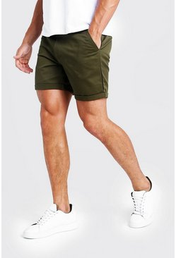 Mittellange Slim-Fit Chino-Shorts in Khaki, Herren