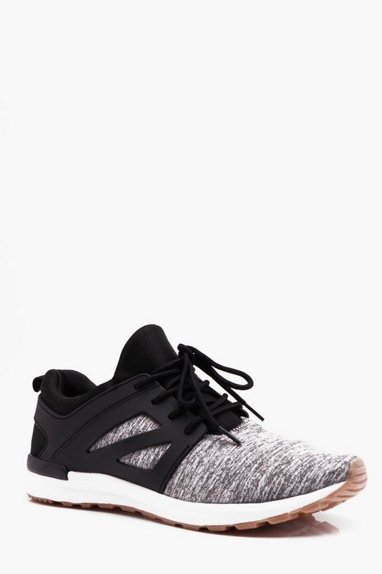 Grey Knitted Lace Up Trainer