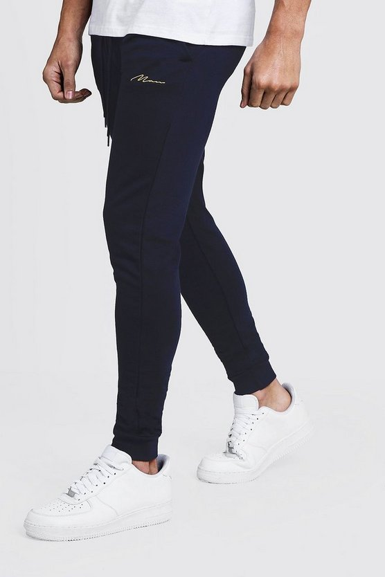 Mens Navy MAN Signature Skinny Fit Jogger