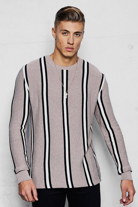Camel Vertical Stripe Knitted Jumper