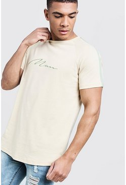 T-shirt long à signature MAN avec ourlet arrondi, Taupe, Homme