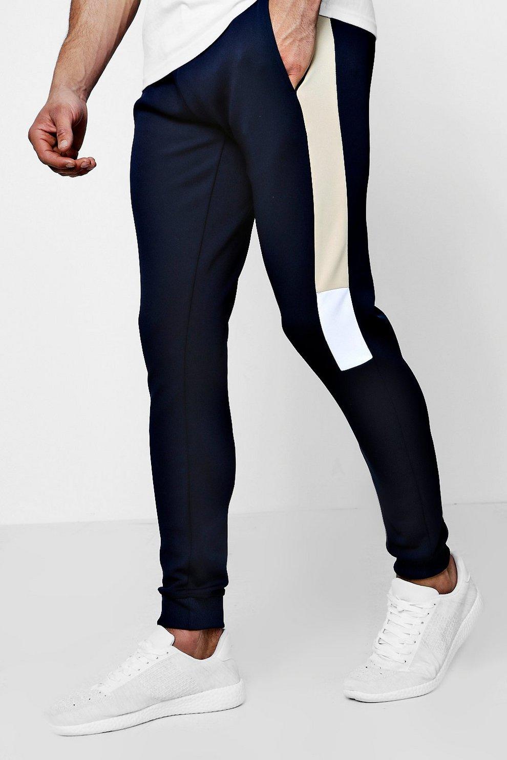 c15348e8 Super Skinny Panel Jersey Joggers - boohooMAN