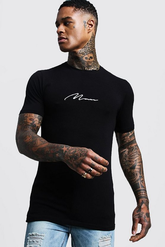 "Muscle-fit T-Shirt mit ""MAN""-Stickerei, Schwarz, Herren"