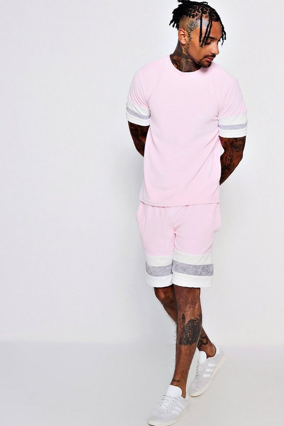 Mens Pink MAN Signature Panelled Velour T-Shirt and Short Set