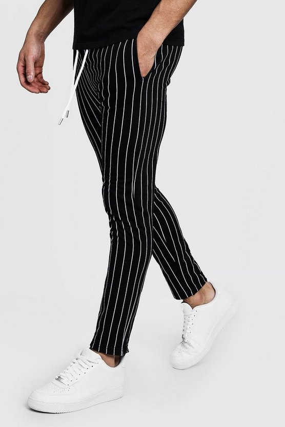 Black Skinny Fit Striped Joggers
