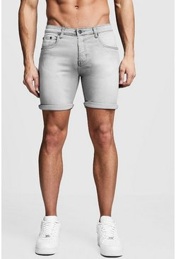 Graue Stretch Skinny-Fit Jeansshorts, Grau