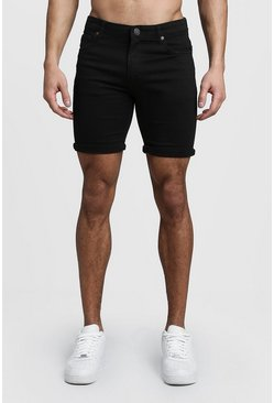 Mens Stretch Skinny Fit Black Denim Shorts