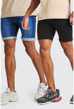 Multi 2 Pack Denim Shorts In Skinny Fit