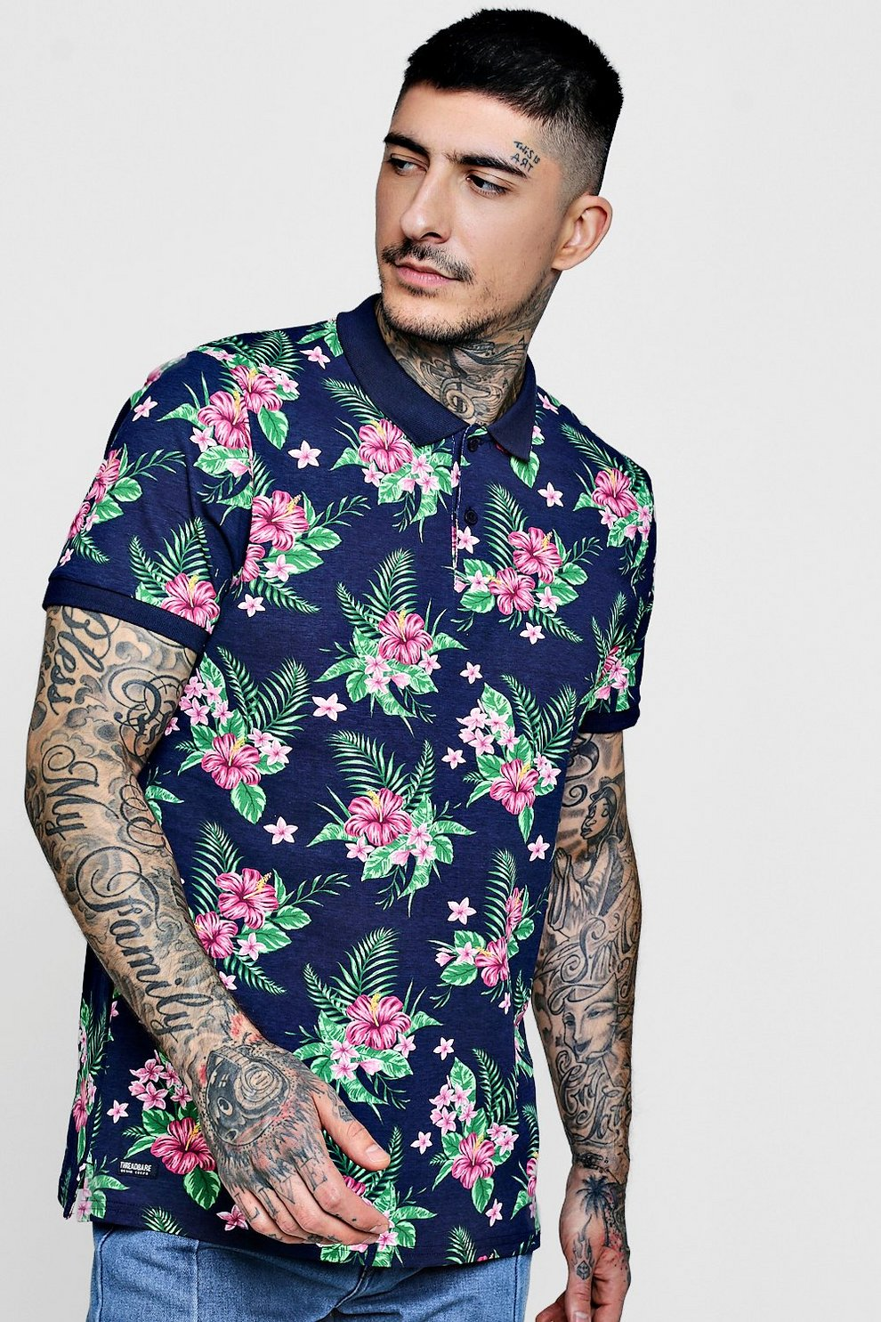 b25f6c22 Mens Navy All Over Floral Print Polo. Hover to zoom