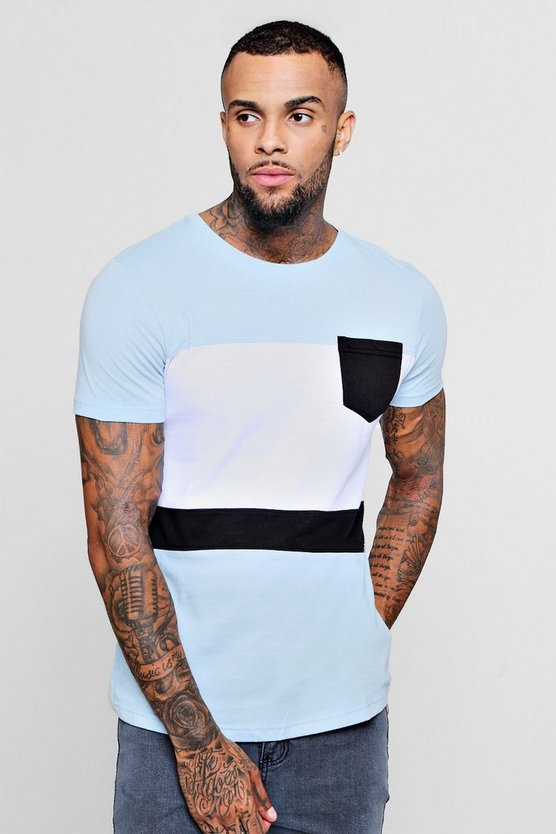 Mens Blue Colour Block Curved Hem T-Shirt With Pocket