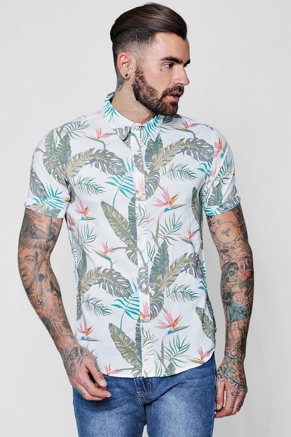 cd8fffe0 Tropical Floral Print Short Sleeve Shirt - boohooMAN