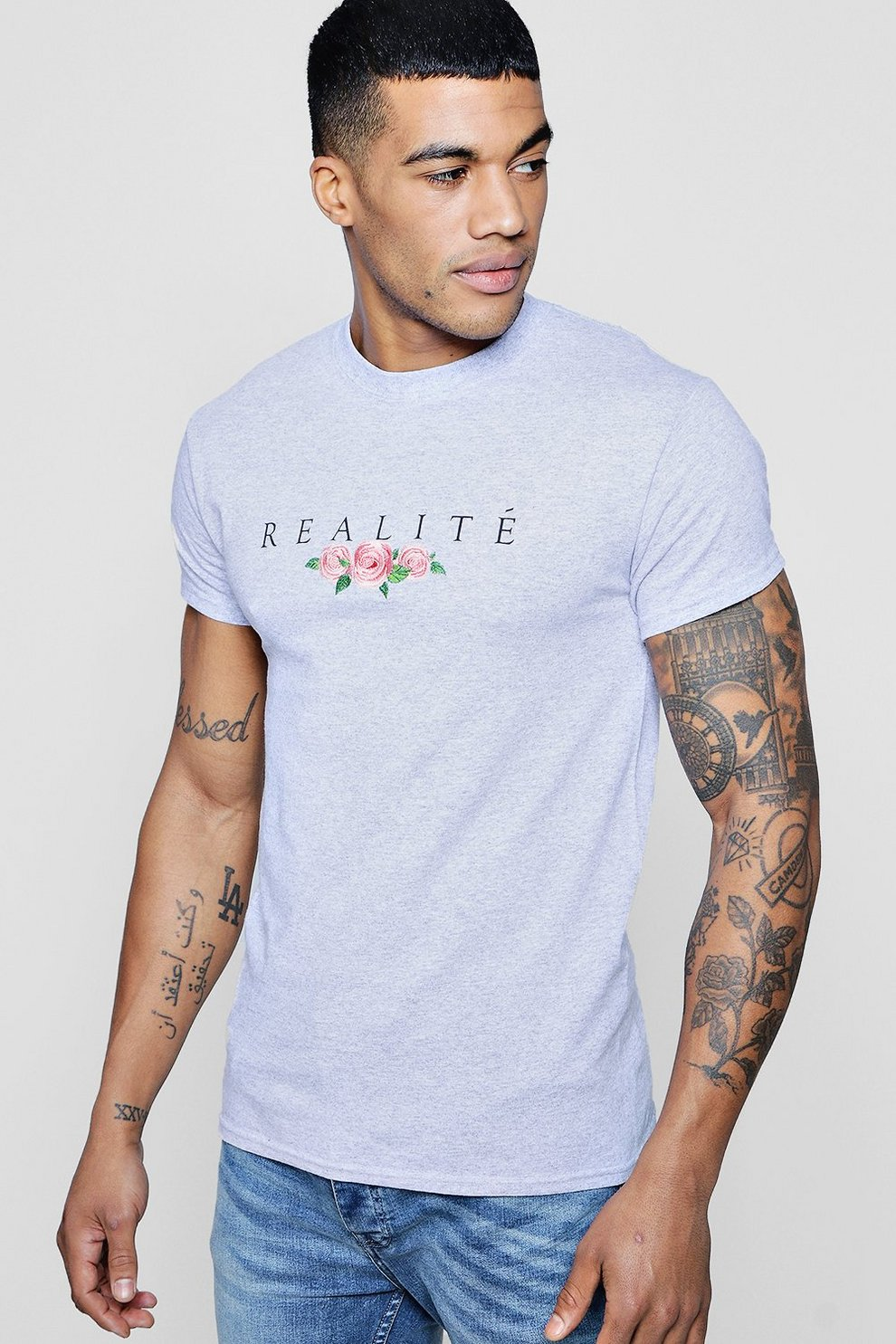 110ee1ba Mens Grey Realite Floral Embroidered T-Shirt. Hover to zoom