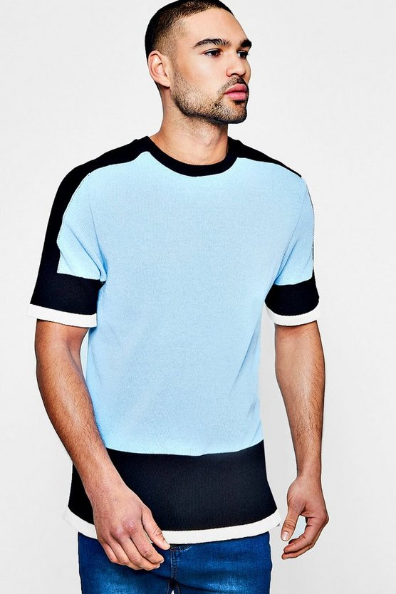 Blue Colour Block Knitted T-Shirt