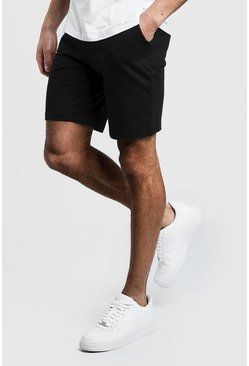 Mens Black Jersey Mid Length Shorts