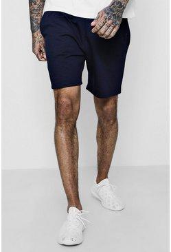 Navy Basic Jersey Mid-Length Shorts