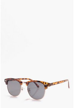 Mens Brown Retro Tortoise Shell Sunglasses
