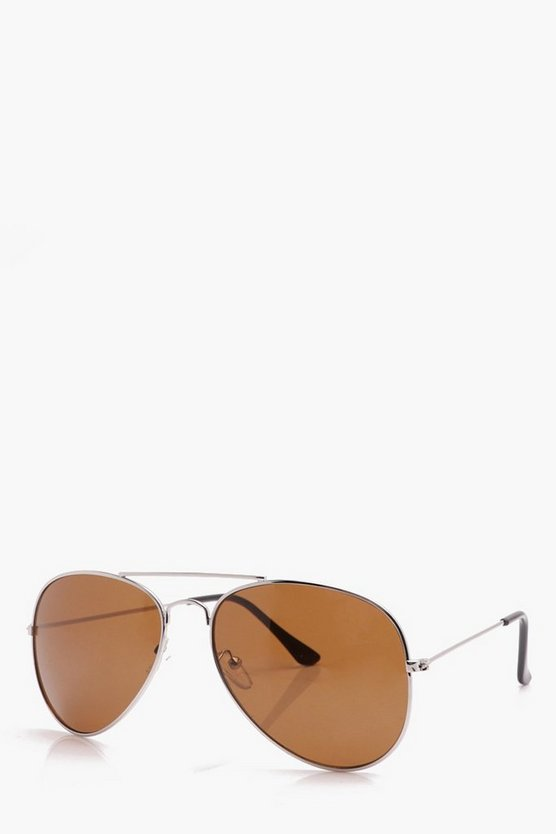 Silver Classic Aviator Sunglasses With Brown Lens