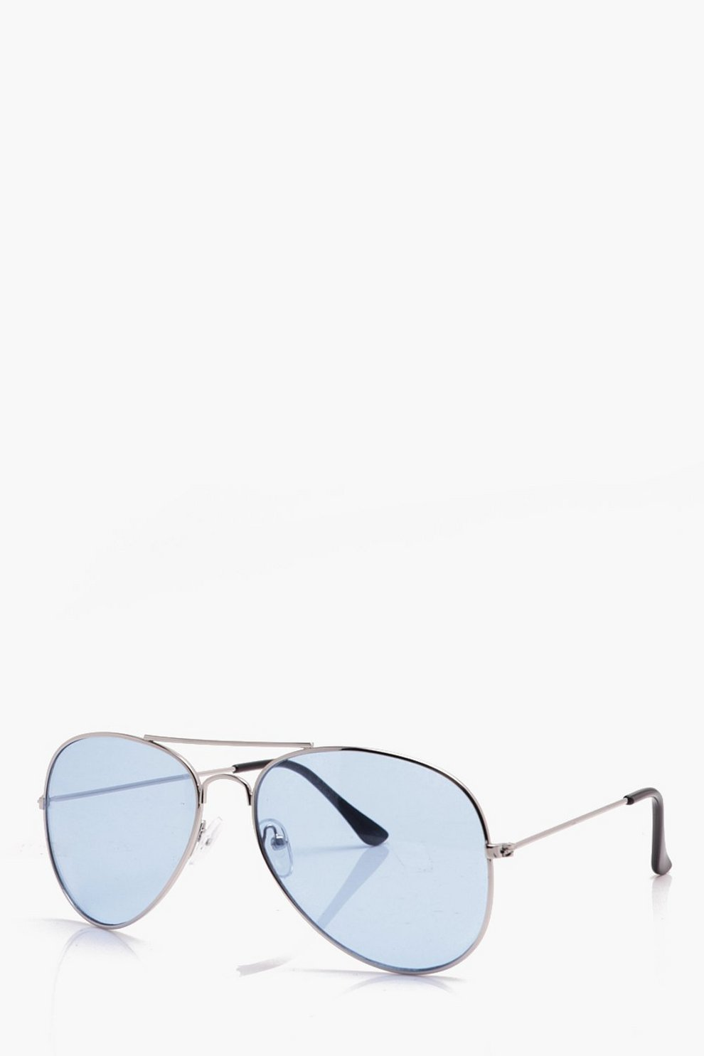 09ed685a2 Mens Silver Classic Aviator Sunglasses With Blue Lens. Hover to zoom