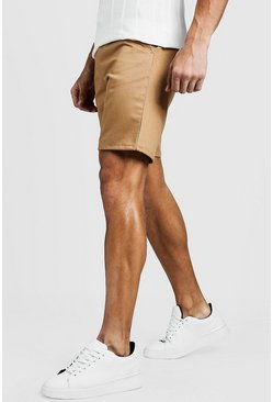 Steingraue Slim Fit Chino-Shorts, Steingrau, HERREN