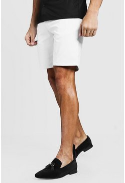 Mens White Slim Fit Chino Short