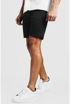 Mens Black Slim Fit Chino Short