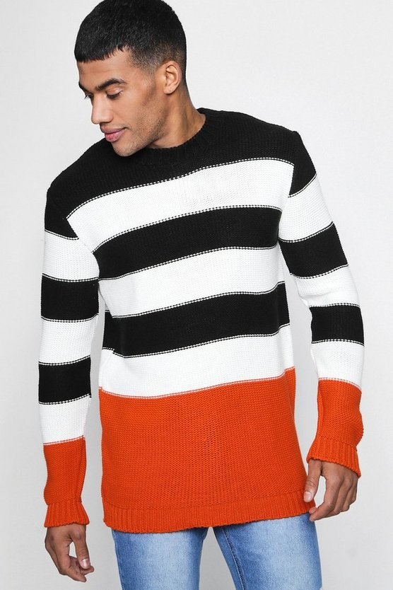 Black Colour Block Stripe Jumper