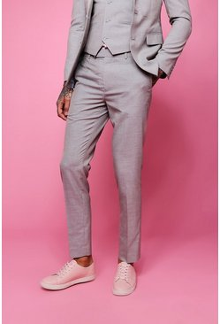 Mens Biscuit Skinny Fit Plain Suit Pants